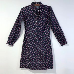 Vtg 60s Blue Floral Shirt Dress - S